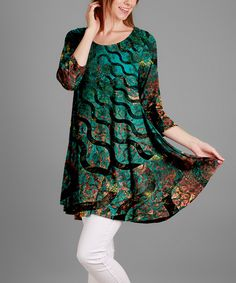 Look what I found on #zulily! Green & Black Ripples Three-Quarter Sleeve Tunic - Plus by Simply Aster #zulilyfinds
