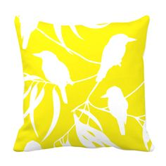 Yellow Kookaburra print small cushion - Yellow Kookaburra Collection. Part of Blue Bandicoot's stunning Yellow Kookaburra Collection (bluebandicoot.com.au).  #gum #flora #pattern #australia #fabricdesign #style #australianstyle #australianbirds #kookaburras #australian #australiannature