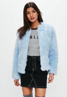Light Blue Collarless Faux Fur Coat, Blue