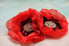 blue birdcage veil with red poppies bridal hair by LacePoems, $50.00