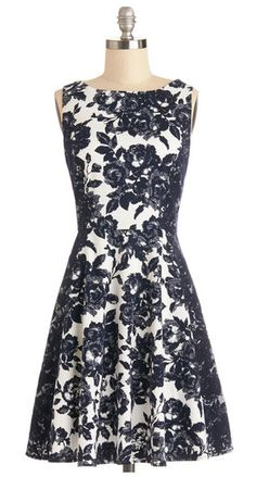 This is pretty. You could either pair with classy black kitten heels or, just for fun, with a Khaki cropped blazer, red flats or heels and a statement necklace.