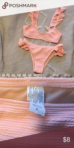 e2599f0792 Cute Pink Ruffle Ribbed Bikini Size S