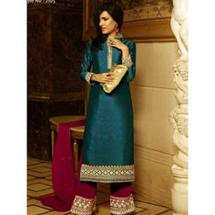 Outstanding Silk Semi stitched Salwar kamiz Comes with Top-Pure Silk , Bottom-Georgette, Dupatta-Chiffon