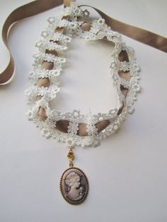 Romantic Brown Lady Cameo in Golden Setting on Lace Choker Cameo Necklace on Etsy