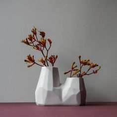 Our Togetherness vase is a unique, double opening vase with a complex, faceted shape reminiscent of crystal or rock formations. It is available in ...