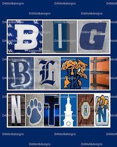 University of Kentucky Wildcats Big Blue Nation Framed Alphabet Art