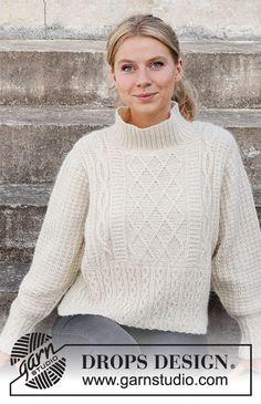 Ice Castles Sweater / DROPS 218-3 - Kostenlose Strickanleitungen von DROPS Design Drops Design, Easy Knitting Patterns, Free Knitting, Crochet Patterns, Ice Castles, Drops Patterns, Work Tops, Pulls, Knit Crochet