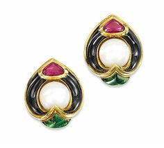 A PAIR OF TOURMALINE, CULTURED PEARL AND ENAMEL EAR CLIPS, BY MARINA B Each composed of a cultured pearl centre within a shaped onyx surround and faceted pink tourmaline surmount, above a triangular sugar-loaf green tourmaline terminal, 1980s, 3.0cm long Signed Marina B