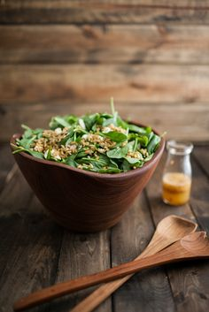 Spinach and Kamut Salad with Chili-Orange Dressing | Naturally Ella