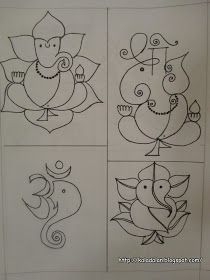 You can also draw these simple stand alone ganesha and swastik patterns in front of y. Rangoli Designs Latest, Rangoli Designs Diwali, Rangoli Designs Images, Beautiful Rangoli Designs, Ganesha Drawing, Ganesha Painting, Ganesha Art, Small Rangoli Design, Mandala Design