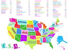 happy printable map of the USA