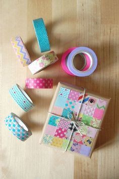 pastel washi tape patchwork packaging
