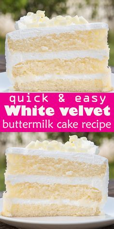 White velvet cake gets it's flavor and velvety texture from buttermilk. A moist, tender cake that is great for any special occasion. This recipe makes two round cakes about tall. Serves 24 The best White velvet buttermilk cake recipe Easy Cake Recipes, Healthy Dessert Recipes, Just Desserts, Food Cakes, Cupcake Cakes, Cupcakes, Homemade White Cakes, Ma Baker, White Velvet Cakes