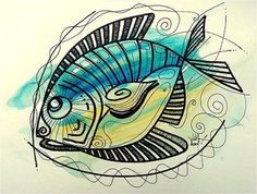 An online gallery of original fish art, abstract paintings, modern art, drawings and prints. The official website and artwork of J. Fish Illustration, Illustrations, Famous Fish, Watercolor Fish, Picasso Paintings, Fish Art, Seashells, Starfish, Under The Sea