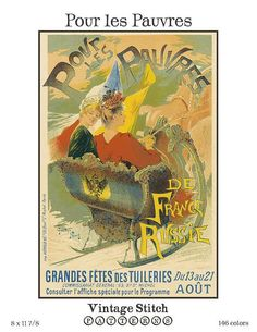 Pour les Pauvres Vintage French Poster Cross Stitch Pattern $8.95
