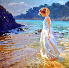 Artist: Vladimir Volegov: what sailor look for on the Beach. Vladimir Volegov, Good Morning World, Fine Art, Figure Painting, Beautiful Paintings, Oeuvre D'art, Painting Inspiration, Impressionism, Female Art