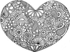 heart zentangle coloring pages - Google Search