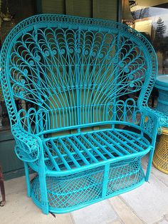 Hey, I found this really awesome Etsy listing at https://www.etsy.com/listing/183881915/ornate-vintage-wicker-rattan-robin-blue