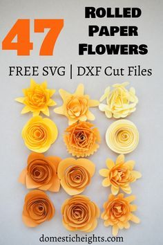 Rolled Paper Flowers, Tissue Paper Flowers, Paper Roses, How To Make Paper Flowers, Flower Paper, Flower Svg, Free Paper Flower Templates, Paper Flower Tutorial, Templates Free