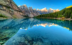 Download wallpapers Canada, Moraine Lake, forest, Banff National Park, blue lake, North America, mountains