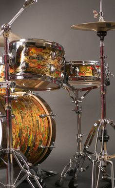 One of a kind custom cigar band drum set by CTProPercussion