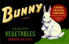 Salinas Bunny Rabbit Vegetable Crate Label Art Print