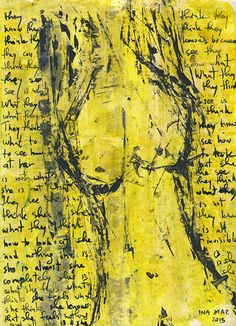 Yellow female nude original acrylic painting on paper by InaMar