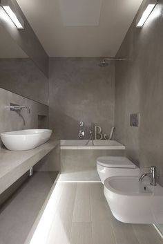 If you have a small bathroom in your home, don't be confuse to change to make it look larger. Not only small bathroom, but also the largest bathrooms have their problems and design flaws. For the … Concrete Bathroom, Bathroom Spa, Grey Bathrooms, Beautiful Bathrooms, Modern Bathroom, Small Bathroom, White Bathroom, Concrete Wall, Bathroom Ideas