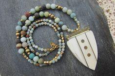 Tusk boho necklace amazonite gemstone tibetan arrow pendant, gypsy bohemian long necklace snow gemstone, horn white arrowhead brass pendant