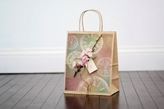 Large Timeless  Flower Gift Bag with Tag by DLDesignerCrafts