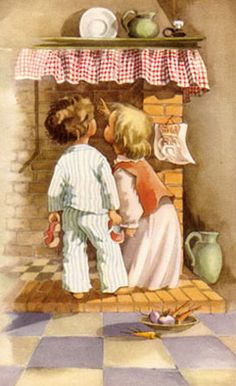 Waiting for Sinterklaas. Company Christmas Cards, Christmas Cards To Make, Noel Christmas, Vintage Christmas Cards, Vintage Cards, Vintage Postcards, Christmas Ideas, Vintage Pictures, Vintage Images