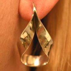 Modernist Mexico .925 Sterling Silver Hoop Teardrop Earrings Geometric Jewelry #Unbranded #Stud