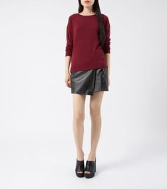 Give a casual knit, an edgier spin with this leather-look skort - great with black mules. #newlookfashion