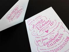 Love the font of this pink letterpress Save The Date!
