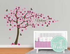 Beautiful Large Cherry Blossom tree and butterfly by PolkaDotWalls, $110.00