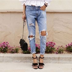 Hot Fashion Casual Holes Ripped Jeans For Women Denim Blue Trousers Female Retro Denim Korean Style Pencil Pants S M L