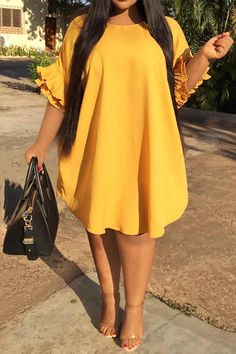 Summer Boho Plus Size Party Yellow Casual Sexy Club Women Midi Dresses Elegant Ruffle Sleeve Plain African Fashion Chic Dress Plus Size Spring Dresses, Casual Dresses Plus Size, Plus Size Outfits, Dress Casual, Casual Outfits, Short African Dresses, Latest African Fashion Dresses, Ankara Fashion, Short Dresses