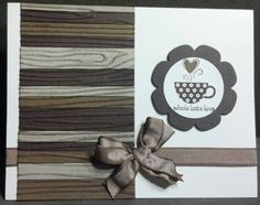 """Wooden Coffee Shop Love  Stamps: patterned Occasions  Paper: Whisper White, Early Espresso, Soft Suede, Sahara Sand  Ink: Early Espresso  Accessories: Suede Taffeta, Floral Framelits, 1 3/8"""" circle punch, Woodgrain Embossing folder"""