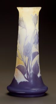 Art Glass:Galle, GALLÉ OVERLAY GLASS FLORAL VASE. Circa 1900. Cameo Gallé.Ht. 9-3/4 in.. ...