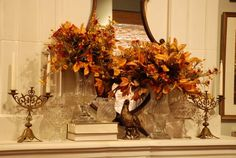 Fall mantel with vases and floral arrangement with autumn leaves - Nell Hill's