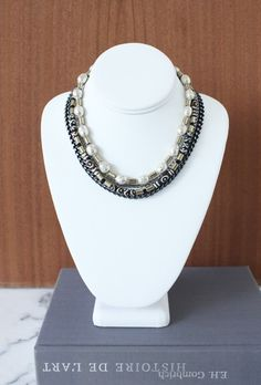 bib-necklace-silver-chains-black-chains-handmade-jewelry