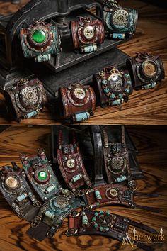 Steampunk Wrist cuffs with mechanical Pocketwatch by Aetherwerk.deviantart.com on @DeviantArt