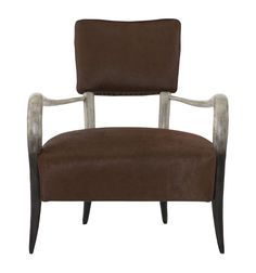 One of our all time favorites, this Pietra Leather Armchair combines rustic and bohemian styles. The curved smoke grey horn frame creates a gorgeous,. Modern Furniture Stores, Living Furniture, Living Room Interior, New Furniture, Brown Leather Armchair, Leather Lounge, Leather Chairs, Chair And Ottoman, Upholstered Chairs