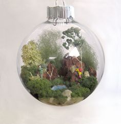 Hiking Couple Scene Glass Ornament by TheFittingPiece on Etsy, $60.00