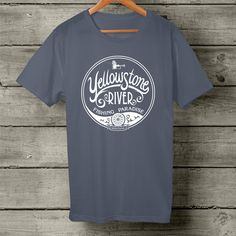 Yellowstone River Fishing Paradise, short sleeve, white logo t-shirt. Made by Montana Treasures in Bozeman, Montana.