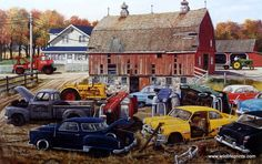 Looks like a picture of an old salvage junkyard full of vintage wrecked and rusting cars. Ken Zylla's Barnyard Gems is seemingly a scrap yard.