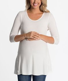 Love this PinkBlush White Maternity Three-Quarter Sleeve Top - Women by PinkBlush Maternity on #zulily! #zulilyfinds