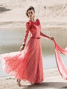 Pink Net Anarkali Suit with Embroidey Work