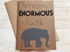 Good luck card. Elephant card. Kraft card. Recycled card.  Not only is the elephant a symbol of strength and stability, it is also…