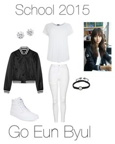 """""""School 2015 (Go Eun Byul)"""" by kariina-sykes ❤ liked on Polyvore featuring Topshop, Kenneth Jay Lane, Vans and Bling Jewelry"""